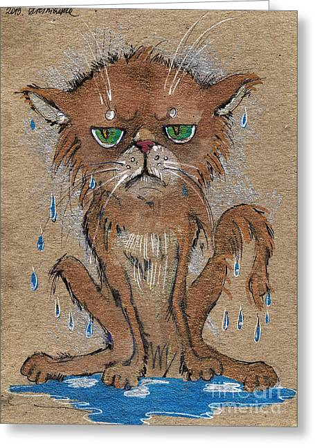 Cat Drawings Greeting Cards - Wet Persian Cat Greeting Card by Angel  Tarantella