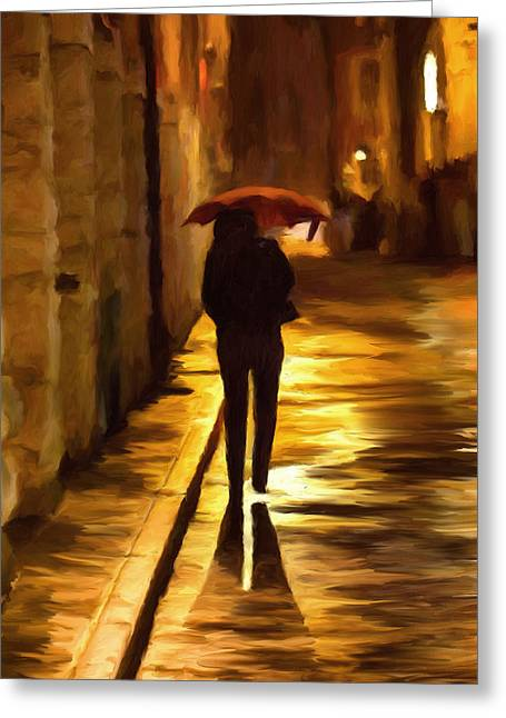 Wet Greeting Cards - Wet Rainy Night Greeting Card by Michael Pickett