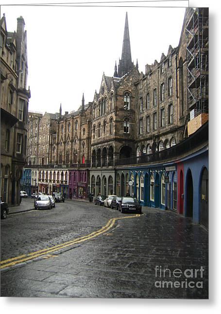 People Pyrography Greeting Cards - Victoria Street Edinburgh Greeting Card by Miryam  UrZa
