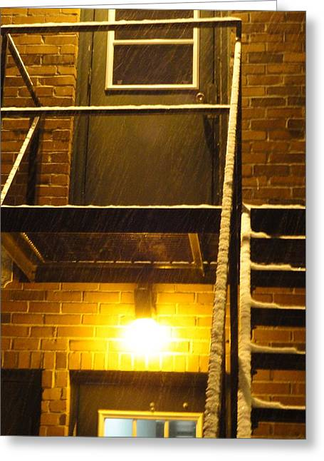 Guy Ricketts Photography Greeting Cards - Wet Snow on a Black Metal Balcony Greeting Card by Guy Ricketts