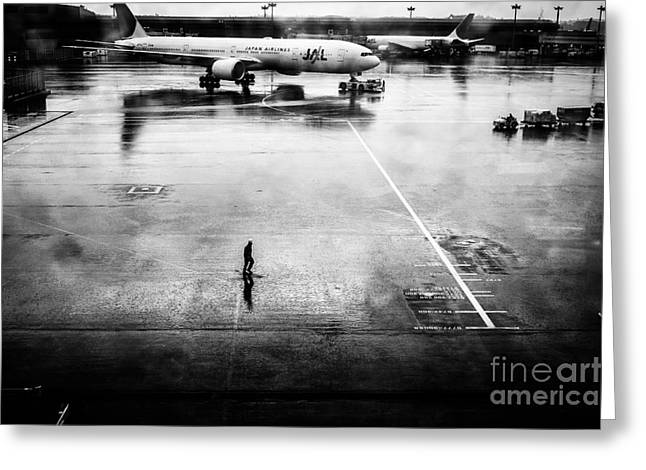 Taxiing Greeting Cards - Wet Tarmac Greeting Card by Dean Harte