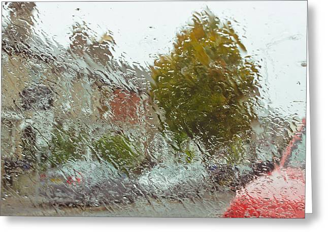 Abstract Rain Greeting Cards - Wet windscreen Greeting Card by Tom Gowanlock