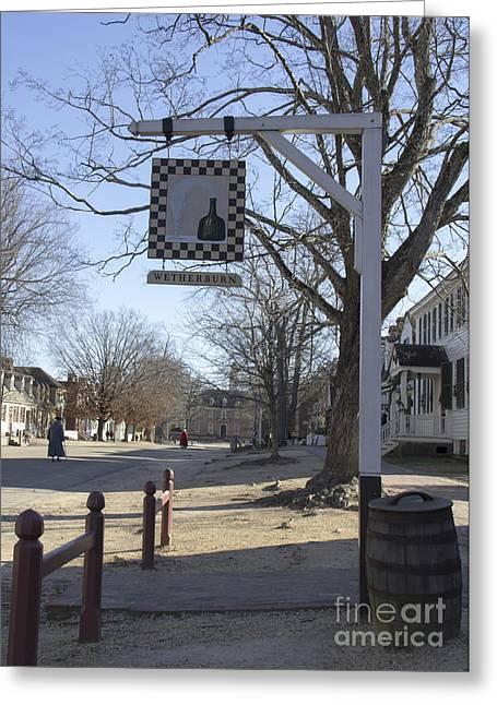 Colonial Actors Greeting Cards - Wetherburn Tavern Sign Williamsburg Virginia Greeting Card by Teresa Mucha