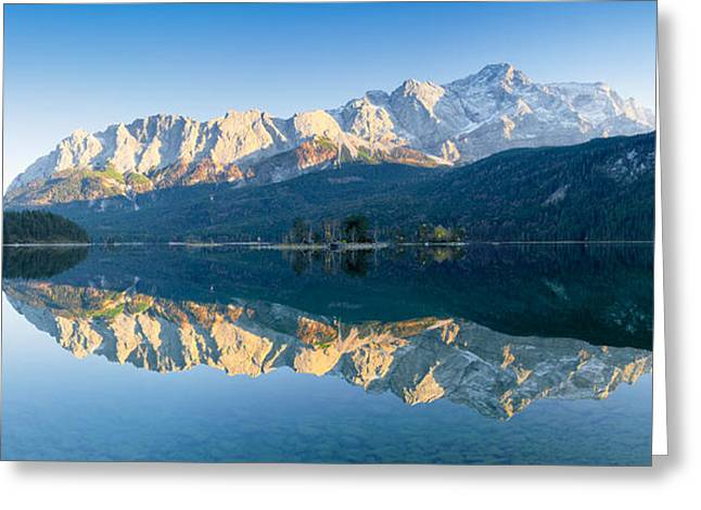 Mountain Greeting Cards - Wetterstein Mountains And Zugspitze Greeting Card by Panoramic Images