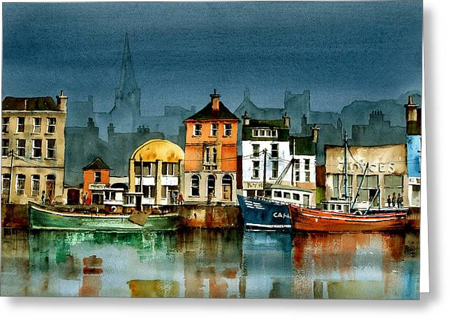 Tour Ireland Greeting Cards - Wexford Quayside Greeting Card by Val Byrne