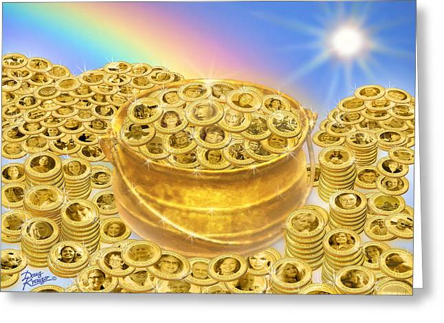 Coin Pictures Greeting Cards - WFS Pot O Gold Greeting Card by Doug Kreuger