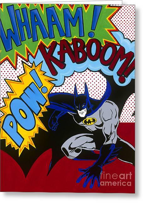 Carla Bank Greeting Cards - Whaam Kaboom Pow Batman Greeting Card by Carla Bank