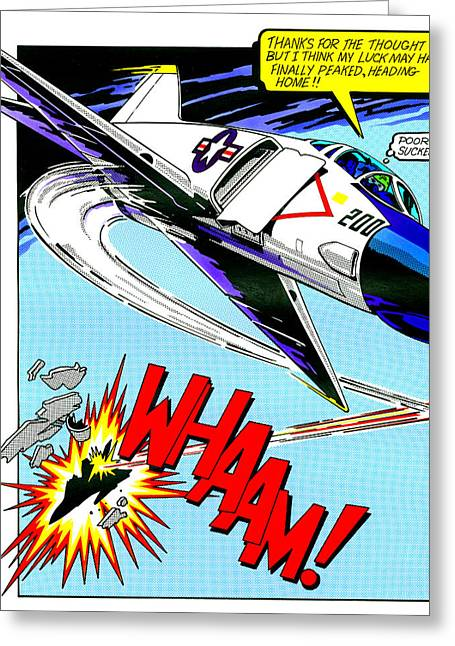 Aeroplane Greeting Cards - Whaam Greeting Card by MGL Studio