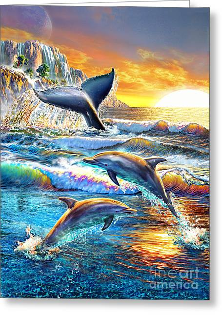 Jumping Digital Art Greeting Cards - Whale and Dolphins Greeting Card by Adrian Chesterman