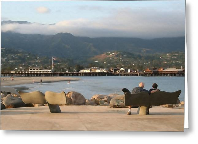 Whale Benches Greeting Card by Art Block Collections