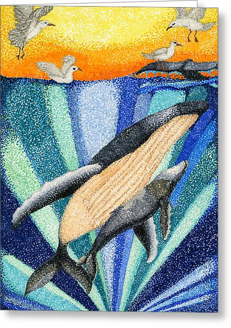 Ocean Mammals Drawings Greeting Cards - Whale by Sarah Arim Kong Greeting Card by California Coastal Commission