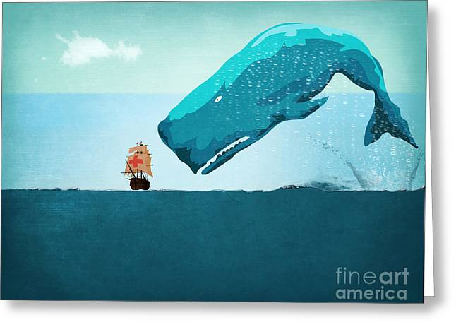 Caricatures Greeting Cards - Whale Greeting Card by Mark Ashkenazi