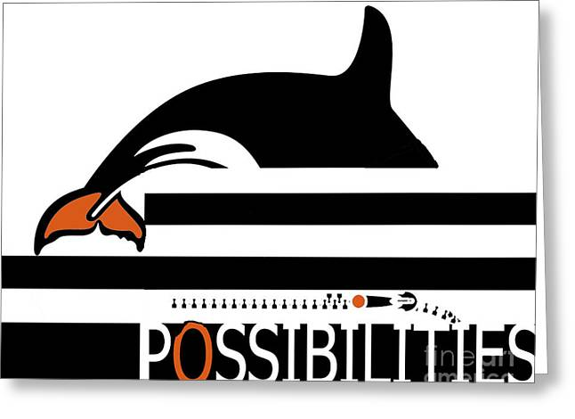 Possibilities Greeting Cards - Pop Art Whale on black and white stripes pop art print Greeting Card by ArtyZen Studios - ArtyZen Home