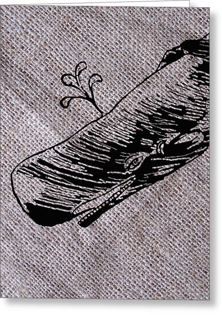 Whale Drawings Greeting Cards - Whale on burlap Greeting Card by Konni Jensen