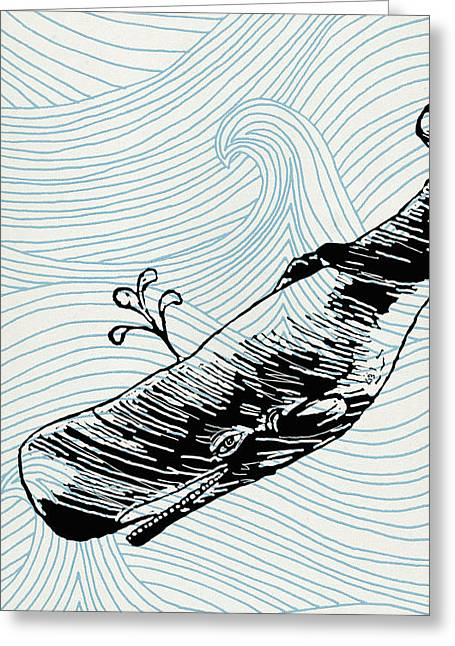 Whale Drawings Greeting Cards - Whale on wave paper Greeting Card by Konni Jensen