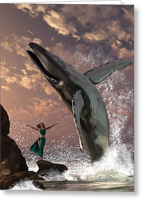 Whale Watcher Greeting Card by Daniel Eskridge