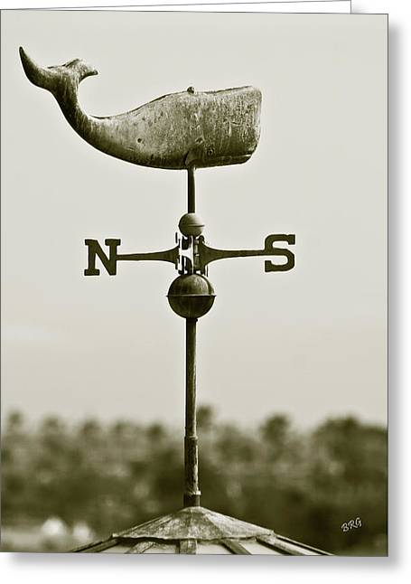 Weather Cock Greeting Cards - Whale Weathervane In Sepia Greeting Card by Ben and Raisa Gertsberg