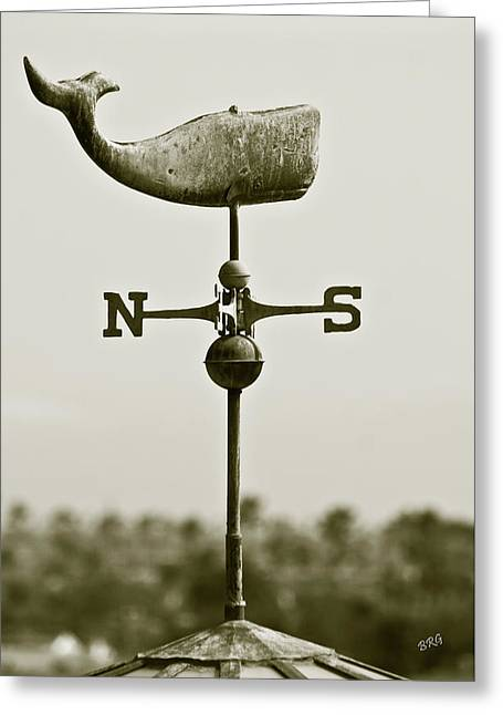 Wind Vane Greeting Cards - Whale Weathervane In Sepia Greeting Card by Ben and Raisa Gertsberg