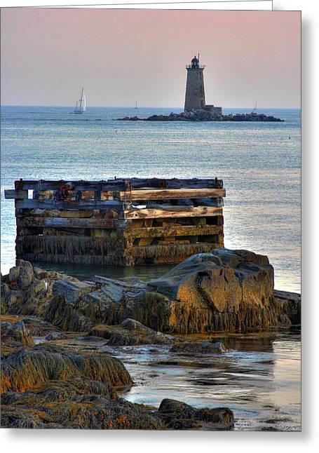 Whaleback Lighthouse Greeting Card by Brett Pelletier