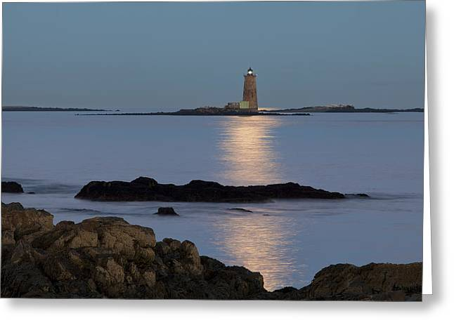 Sea Moon Full Moon Greeting Cards - Whaleback Lighthouse Greeting Card by Eric Gendron