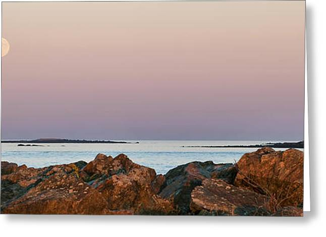Moonrise Greeting Cards - Whaleback Lighthouse Panorama Greeting Card by Eric Gendron
