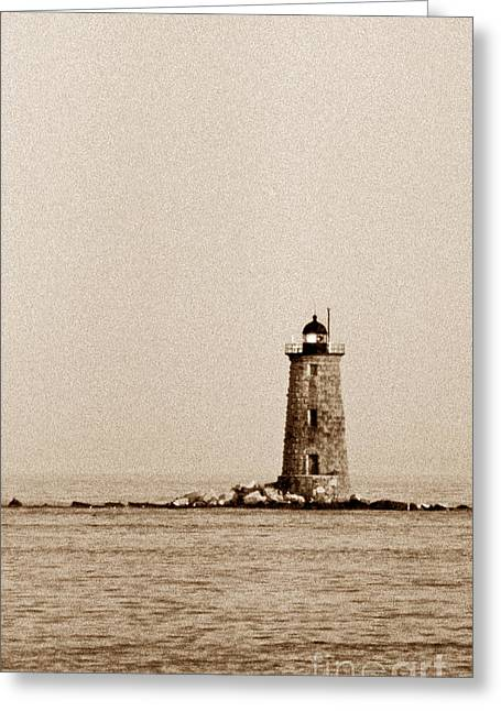 Maine Beach Greeting Cards - Whaleback Lighthouse Greeting Card by Skip Willits