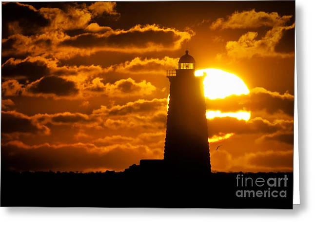 Maine Clouds Greeting Cards - Whaleback Lighthouse Sunrise Greeting Card by Scott Thorp