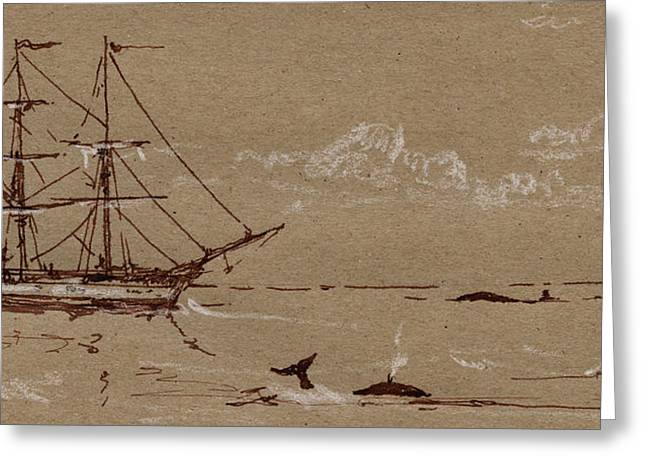 Whaler Ship Frigate Greeting Card by Juan  Bosco