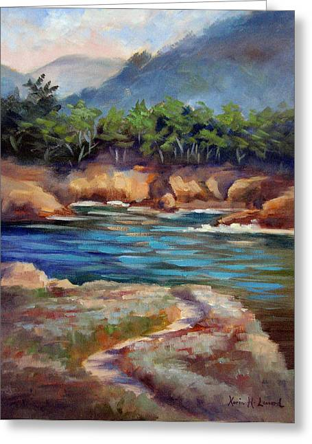 Bixby Bridge Paintings Greeting Cards - Whalers Cove Point Lobos Greeting Card by Karin  Leonard