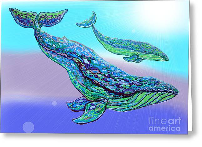Ocean Mammals Drawings Greeting Cards - Whales Greeting Card by Nick Gustafson