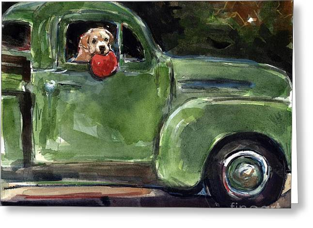 Yellow Dog And Truck Greeting Cards - Wham-o Greeting Card by Molly Poole