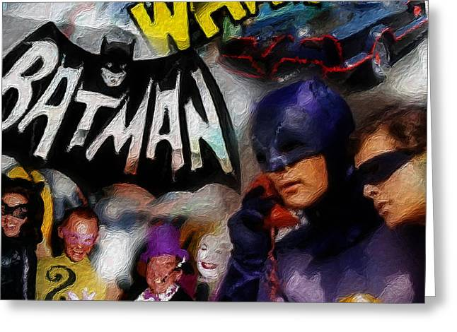 Batman Mixed Media Greeting Cards - Wham Greeting Card by Russell Pierce