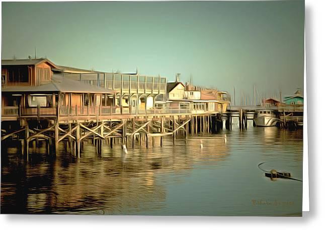 Monterey Ocean Scene Greeting Cards - Fishermans Wharf Monterey California Greeting Card by Barbara Snyder