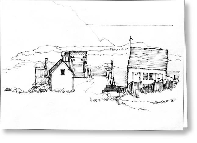 Maine Coast Drawings Greeting Cards - Wharf Monhegan Island 1987 Greeting Card by Richard Wambach