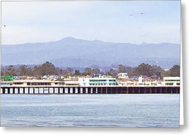 Santa Cruz Wharf Greeting Cards - Wharf Pano Greeting Card by George  Saitas