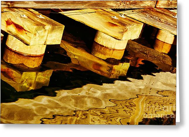 Brown Tones Greeting Cards - Wharf Reflections in Brown Greeting Card by Nikolyn McDonald
