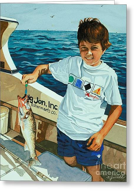 Fishing Trip Greeting Cards - What a Catch Greeting Card by Barbara Jewell