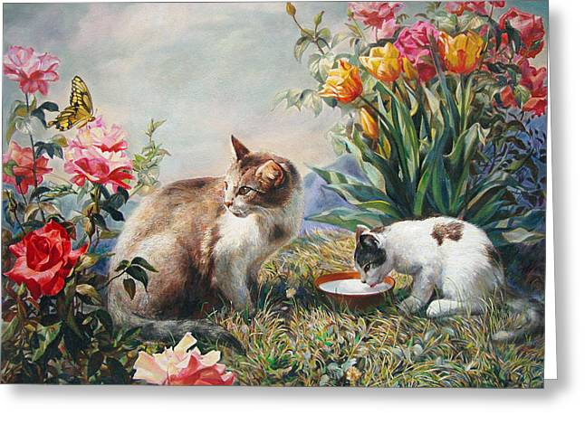 Fabled Greeting Cards - What a Girl Kitten Wants Greeting Card by Svitozar Nenyuk