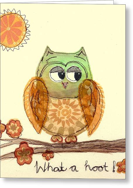 Winged Tapestries - Textiles Greeting Cards - What a hoot Greeting Card by Hazel Millington