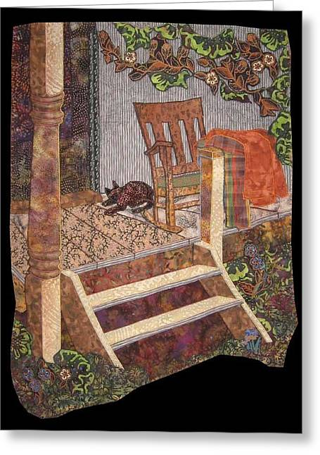 Old Tapestries - Textiles Greeting Cards - What a Time It Was Greeting Card by Carol Bridges