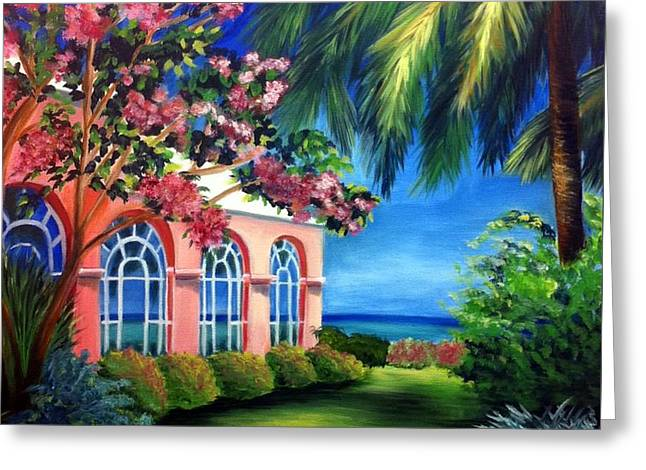 Royal Art Greeting Cards - What A View - Barbados Royal Pavilion - Palm Restaurant Greeting Card by Shelia Kempf