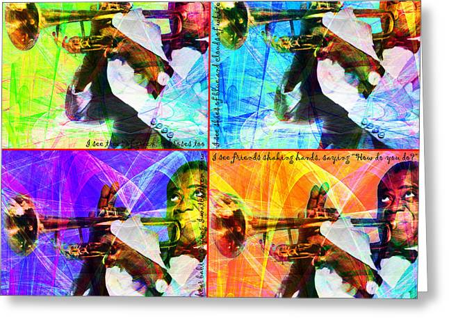 African-american Digital Greeting Cards - What A Wonderful World Louis Armstrong 20141218 Four Greeting Card by Wingsdomain Art and Photography