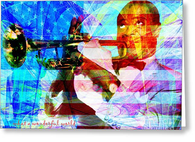 African-american Digital Greeting Cards - What A Wonderful World Louis Armstrong With Flag 20141218 v1 with text p68 Greeting Card by Wingsdomain Art and Photography