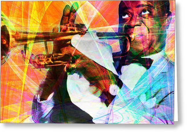 African-american Digital Greeting Cards - What A Wonderful World Louis Armstrong 20141218 square Greeting Card by Wingsdomain Art and Photography