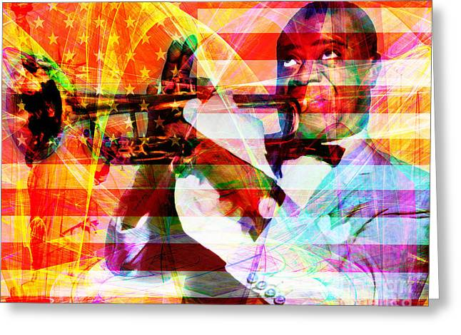 4th July Digital Greeting Cards - What A Wonderful World Louis Armstrong With Flag And Statue of Liberty 20141218 Greeting Card by Wingsdomain Art and Photography