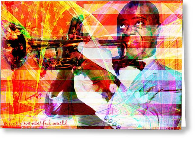 4th July Digital Greeting Cards - What A Wonderful World Louis Armstrong With Flag And Statue of Liberty 20141218 with text Greeting Card by Wingsdomain Art and Photography