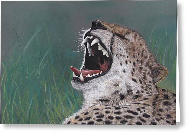 Growling Greeting Cards - What Big Teeth You Have Greeting Card by John Hebb