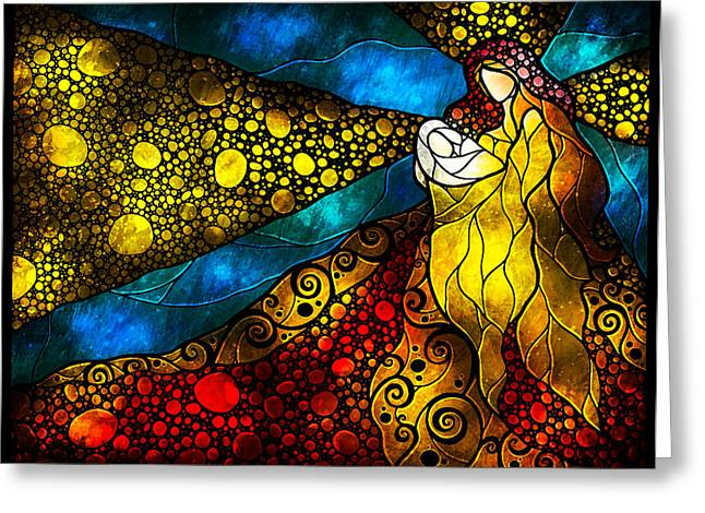 Religious Art Digital Art Greeting Cards - What child is this Greeting Card by Mandie Manzano