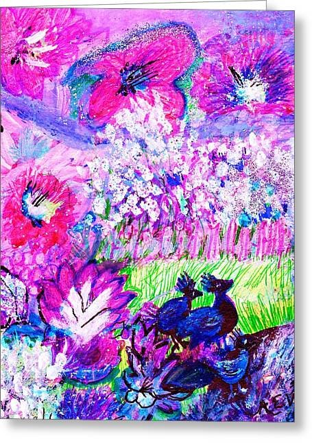 Les Mixed Media Greeting Cards - What Do the Birds See Greeting Card by Anne-Elizabeth Whiteway