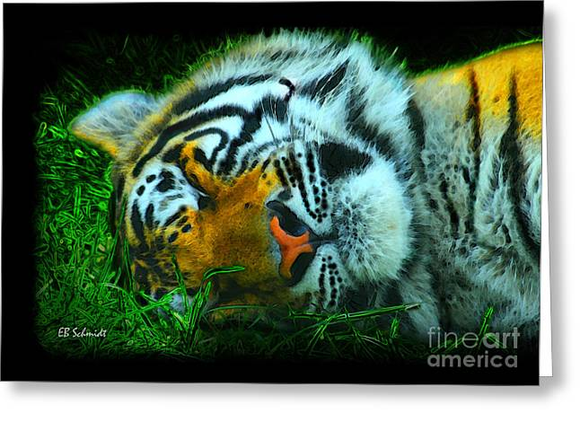 Tiger Dream Greeting Cards - What Do Tigers Dream Greeting Card by E B Schmidt